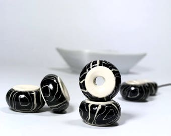 Black And White Polymer Clay Beads, Handmade Beads, Set Of Two Polymer Clay Donuts Beads In Black And White, Big Hole Beads, Jewelry Making,