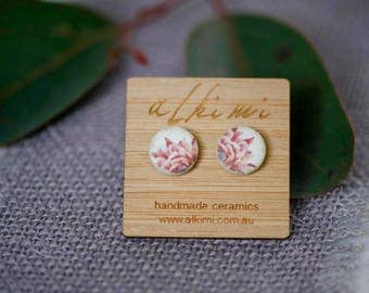 FREE SHIPPING Ceramic Stud Earrings with 'Bloom' image - Nature, BOHO, Leaf - Flower - Summer - Spring - Bohemian Wedding
