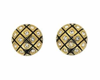 Swarovski 1980s Black Enamel and Rhinestone Vintage Earrings