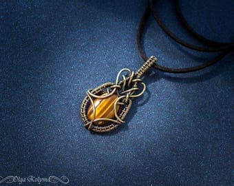 Gold pendant Mens pendant Tiger eye Wire wrapped pendant Mens necklace Tiger eye pendant Brass necklace gift for him