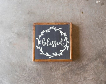 Wood Sign - Blessed - Rustic, Gift, Christmas, Thanksgiving, Home Decor, 12x12""