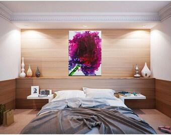 """MyLittleBlossomLoveAffair XL 28"""" x 40"""" in Flower Tulip texture abstract magenta purple white"""