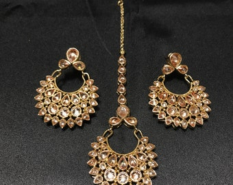 Indian Jewelry - Indian Earrings and Tikka Set - Indian Bridal - Pakistani Jewelry - Pakistani Bridal - Bollywood Tikka Earrings - Kundan -