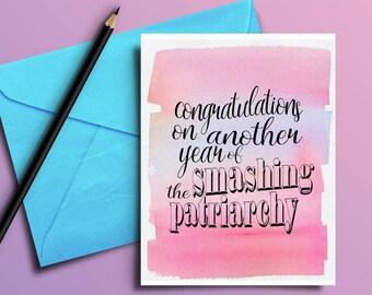 Feminist Birthday Card (Digital Download/Printable), Smashing the Patriarchy