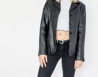 Classic 90s Leather Black Blazer