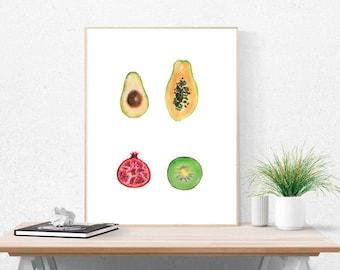 Fruit Art, Digital Download, Printable Art, Wall Art, Modern Art, Minimalist, Funky Art, Pomegranate, Kiwi, Avacado & Papaya Wall Art