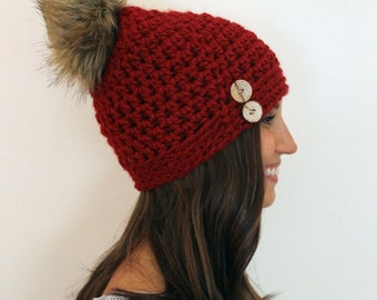 Cranberry Slightly Slouchy Beanie with Faux Fur Pom-pom