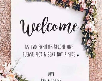 Pick a seat not a side sign - Wedding Sign, seating artwork, Printable Wedding Sign, Printable sign, Wedding decoration sign