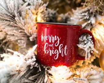 Merry and Bright Campfire Mug  |  Christmas Coffee Mug | Southern Style Coffee Mug