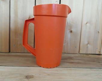 Vintage Large Orange Tupperware Pitcher 70s Juice or Water with Secure Lid Kitchenware Retro Gift Farmhouse Nostalgia Grandmother