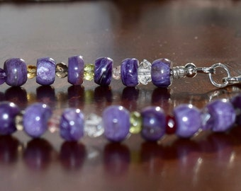 Charoite and Gemstone Bracelet~ High End Gorgeous Charoite Stones~ High Energy Bracelet~ Gift ideas