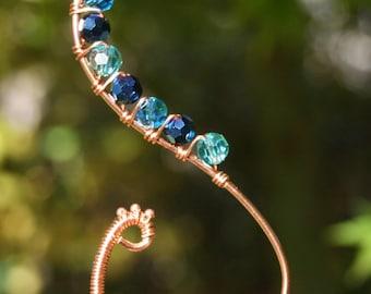Bird pendant, peacock pendant, blue pendant, copper pendant, wire wrapped, blue crystal pendant, leather, cord, copper necklace,