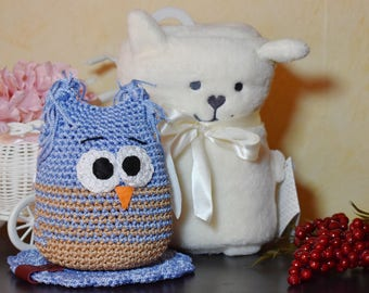 Blue Handmade Owl MOKAS, Crochet Toy, Ready to Ship, Amigurumi Toys