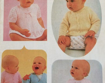 Vintage knitting pattern booklet - 3 ply feathersoft - 10 Baby designs