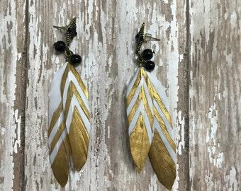 Handmade feather earrings, Boho jewelry, Feather Earring, Gold striped jewelry, costume jewelry, Dangle earrings, Girly earrings