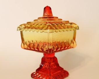 Amberina Square Candy Dish Jeanette Glassware