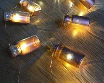 20 mini copper jar fairy lights. Micro LEDs. Jar garland.
