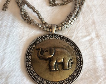 Silvertone Beaded Necklace w/ Lucky Elephant Pendant