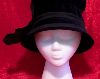 1950's Bucket-style Hat Blue Felt with Ribbon Band Bow by Evelyn Varon