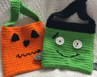 Trick or Treat Bags, pumpkin bag, Frankenstein bag, Halloween bag, fun bag