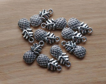 10 x Zinc Alloy Silver Pineapple Charms for Jewellery Making