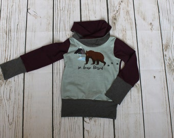 Grow with me children's sweater, cowl sweater for kids,bear, stretchy sweater, woodland, grey, burgundy, cotton lycra, grow fonder