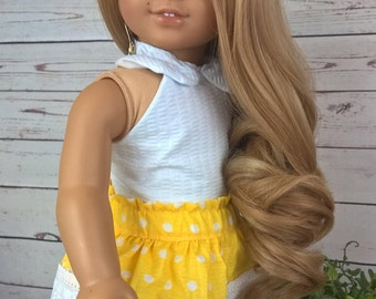 """Custom 10-11"""" Doll Wig Fits Most 18"""" Dolls, Blythe, 1/4 Sized Dolls and More """"Pale Buttersctch"""" Heat Safe"""