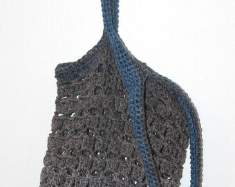 Blue & Gray Crocheted Beach or Market Bag