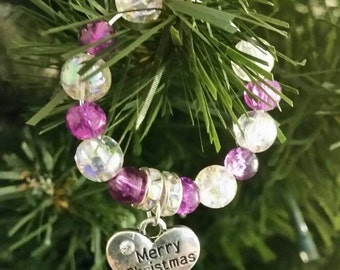 Personalised Christmas Tree Decorations and Wine Glass Heart Charms - perfect to decorate your home or as gifts and presents Secret Santa