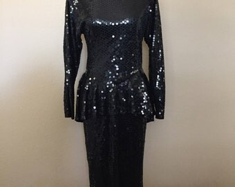 Vintage 1980s Oleg Cassini Black Sequence Wedding Pleplum Evening Designer Dress Size 8