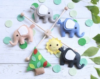 Ready to ship - Baby Mobile, Elephant Mobile, Tree Baby Mobile, Forest Mobile, Elephant Baby Mobile