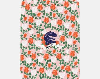 Dinosaur Blanket, Personalized Blanket, Monogram Blanket, Pink Blanket with Name, Soft Blanket, Fleece Blanket, Cozy Blanket for Girls,