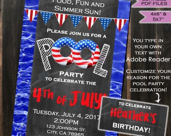 INSTANT DOWNLOAD Pool Party Invitation - 4th of July - Red White & Blue - Summer Party - Birthday party - Chalkboard - Printable - Editable