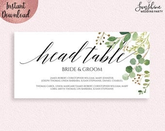 Green Leaves Wedding Head Table Sign Template, Printable 5x7 Wedding Head Table Sign with Names, Editable PDF file, Digital Download