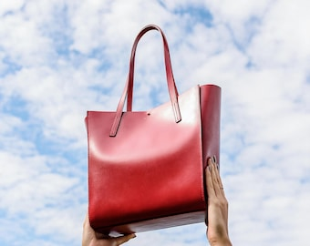 Leather Tote Bag, Red Leather Tote Bag, Medium Leather Tote Bag, Red Leather Shoulder Bag, Leather Womans Purse