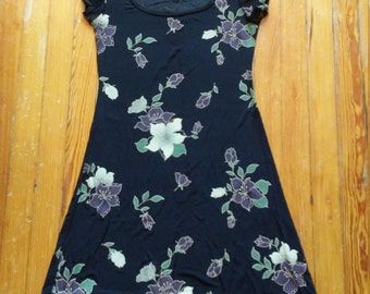 90s Floral Scoop Neck Dress - Small / Medium
