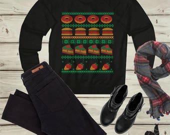 Funny Christmas shirt, Pizza, Donuts, Hamburger, Ugly Christmas sweater, Holiday baking, Matching Christmas, Funny holidays, Holiday sweater