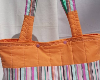 Orange Stripes Quilted Tote Hand Bag Shopping Homemeade
