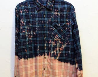 Cropped Bleached Splatter Print Flannel Blue/Green