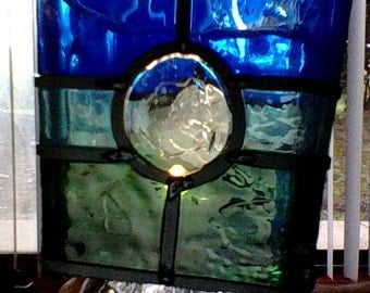 handpainted square glass candle holder