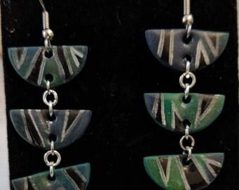 Green Striped Dangles
