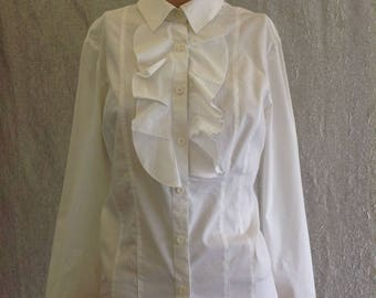 SALE,Vintage 90s White Blouse Ruffles in the front Shirt Stretch Cotton Long Sleeves Buttoned Collar Top Designer Germany Kingfeld,size M