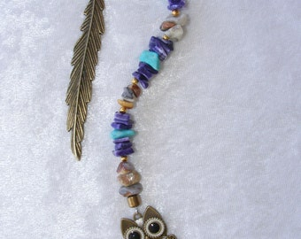 Bookmark, Book Jewelry, Bookmark with Beads, Owl Charm