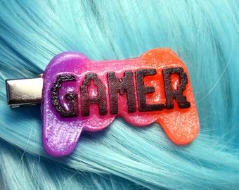 Neon UV Gamer Rave Hair Clip Glitter Resin Barrette