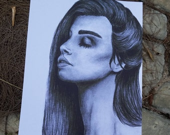 """Charcoal Portrait of a Woman Art Print """"Resilience"""""""