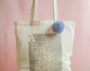 Alphabet Unique Printed Canvas Tote Shopper Bag with Pom Pom