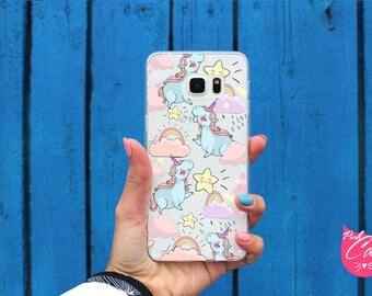 Clear Unicorn case S6 Edge Plus Samsung S7 Edge S8 Plus S6 Active S7 Active S7 phone case S8 S6 Edge Samsung A3 A5 A7 2017 Galaxy A5 2016