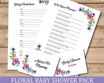 Floral Baby Shower Multi Game And Invitation Pack x 10 Of Each