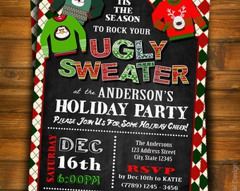 Ugly Sweater Party Invitation, Ugly Sweater Christmas Party, Ugly Christmas Sweater, Christmass Invitation, Adult Holiday Party Invites C6