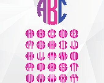 Scalloped Circle Monogram font SVG, Circle monogram font svg files for Silhouette,Cricut, Print,Design and any more